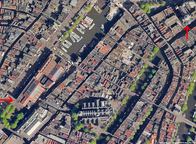 00-Google maps: Left arrow = Beurs (old Stock Exchange, 1903), Oude Kerk (bottom-center), right arrow = St Nicolaaskerk (St Nicholas' Church)