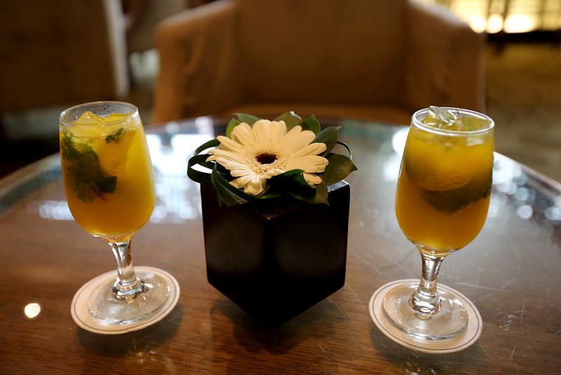 Having a refreshing drink at the Sofitel Hotel - Vietnam.