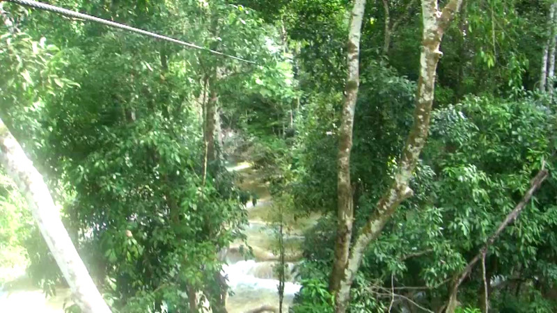 Julie zip lining in Laos. WOW! What an adventure.