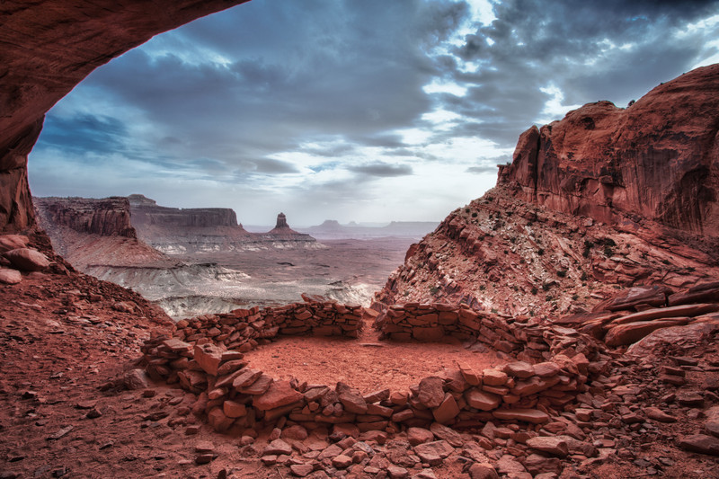 """FALSE KIVA"" PANORAMA ON A WINDY CLOUDY AFTERNOON-CANYONLANDS N.P."