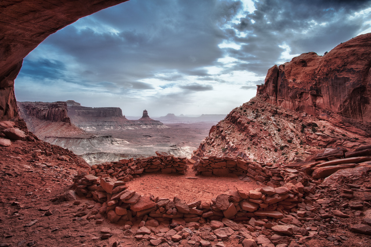 """""""FALSE KIVA"""" PANORAMA ON A WINDY CLOUDY AFTERNOON-CANYONLANDS N.P."""