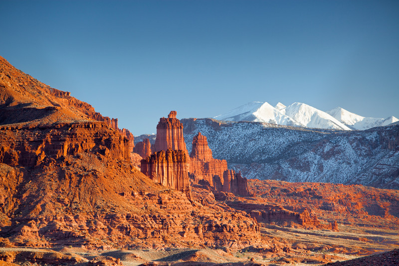 FISHER TOWERS AND SNOW CAPPED LA  SAL MOUNTAINS