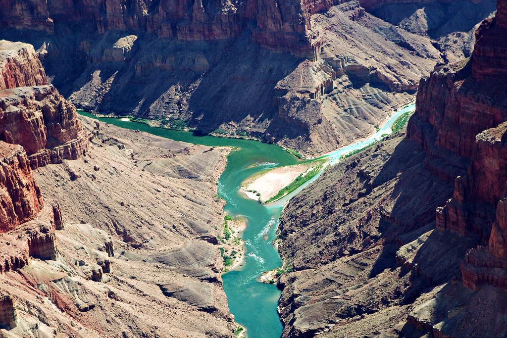 CONFLUENCE OF THE LITTLE COLORADO (TURQUOISE WATER) WITH THE COLORADO RIVER