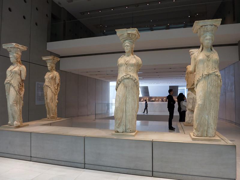 Original caryatids in Acropolis Museum. One is missing (in British Museum).