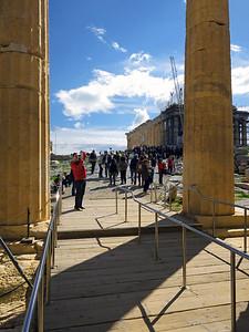 Walking east through the Propylaea. Parthenon on the right.
