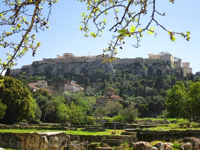 North face of the Acropolis from the Roman agora. Erechtheum at center