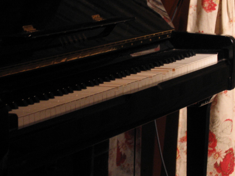 A 'ghost' is playing the piano.  See the keys being pressed?