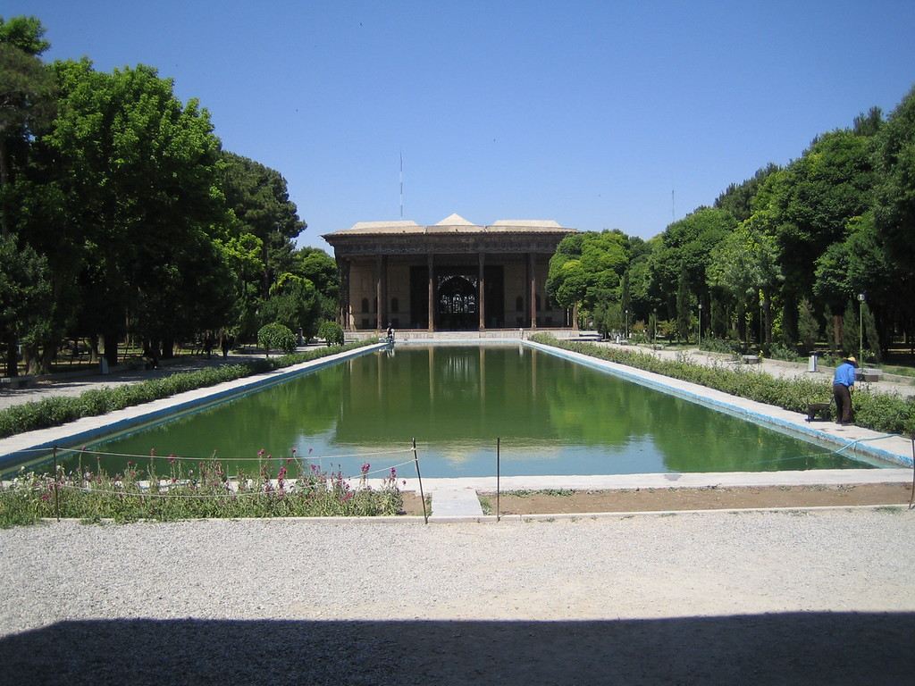 Chehel Sotoon, or Forty Columns Palace in a garden in Isfahan, which dates from the 16th Century.