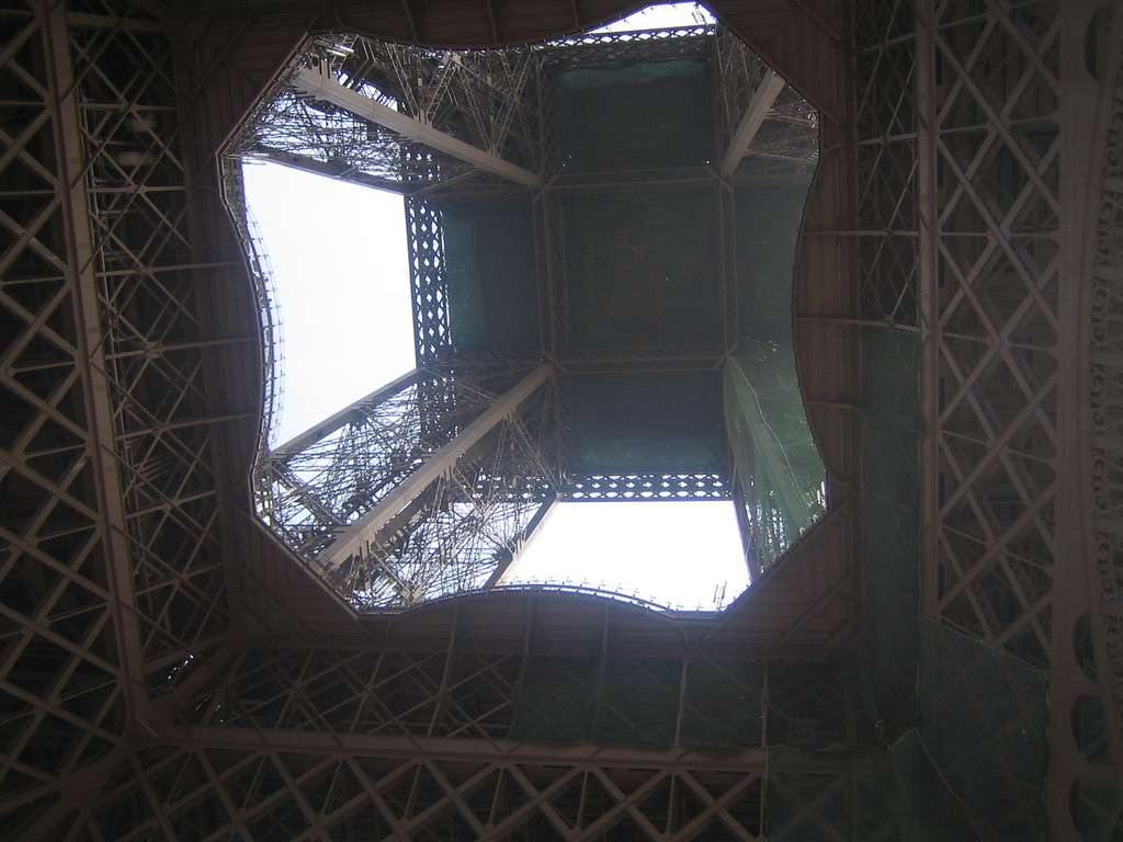 View from beneath the Eiffel Tower.