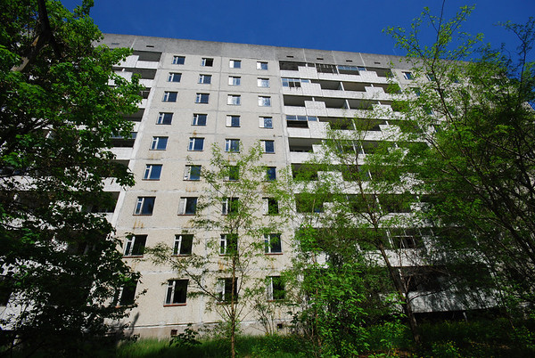 In Pripyat,almost everyone lived in high rise blocks.