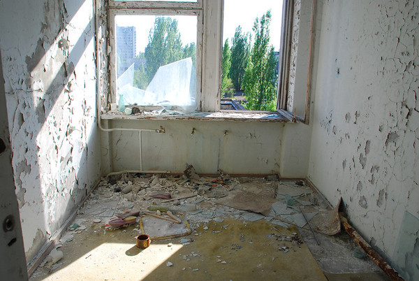 One of many trashed rooms