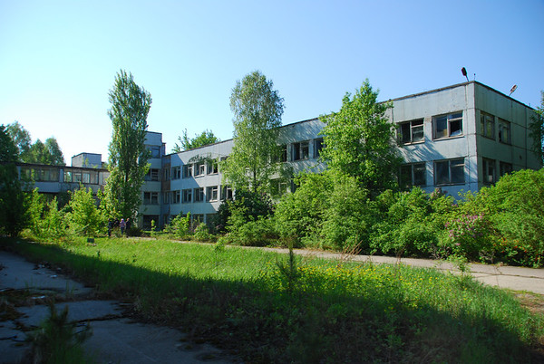 Taking in the sites of the familiar block-like design of many Pripyat buildings