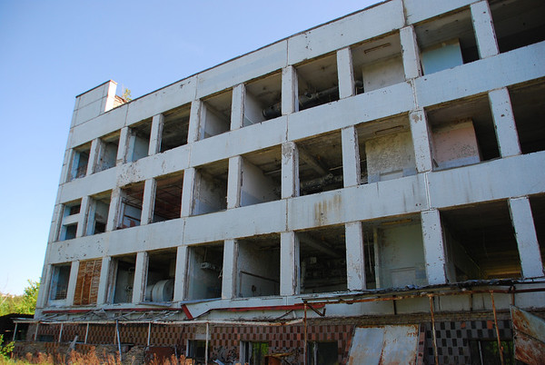 All the windows were removed after the disaster to allow the washing down of radiation fallout