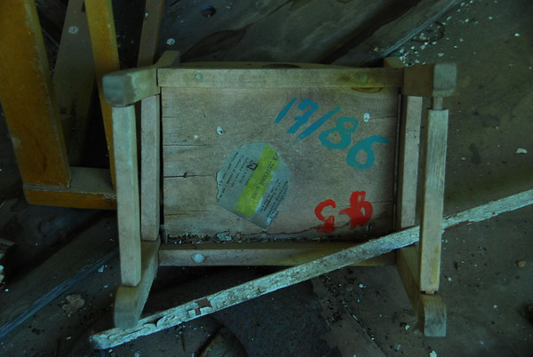 Upturned chair