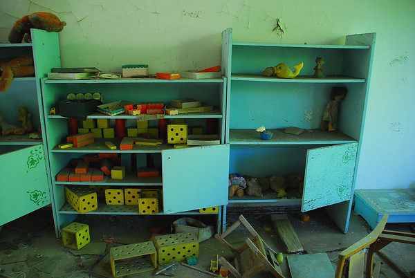 Shelves of toys