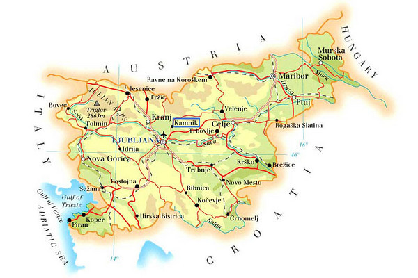 Slovenia borders to Italy, Austria, Hungary and Croatia, and its size is about 20,000 square kms (7,800 square miles).