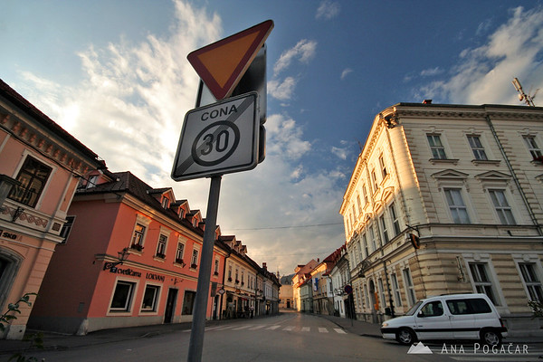 Main street and square in Kamnik.