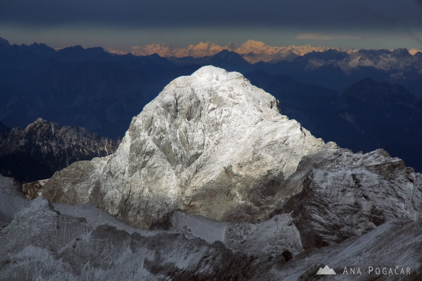 Mt. Mangart, one of the highest Slovenian peaks, from a plane.