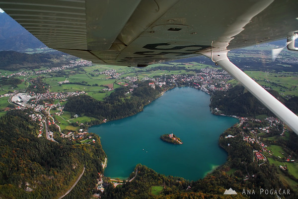 Lake Bled from a plane.