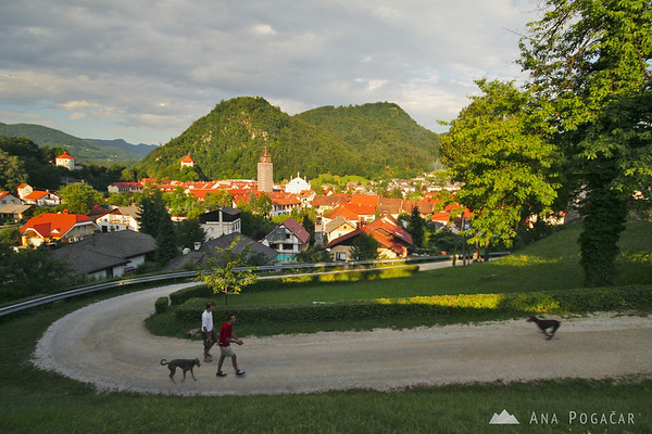 The old part of Kamnik is nestled between hills.