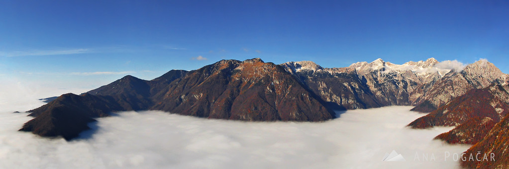 Velika planina has great views over the Kamnik Alps. Here the mountains rise from the fog in the valley.