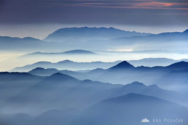 More scenes from the mountains: blue layers.