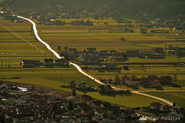 A shining road in Kamnik suburbs.