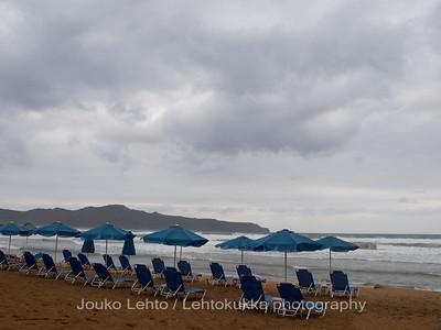 Umbrellas and empty beds