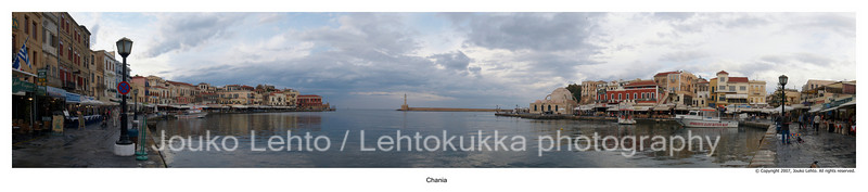 Chania Old Town Harbour with Lighthouse panorama