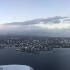 Over Fort de France Bay, looking at Fort de France, the capitol city.