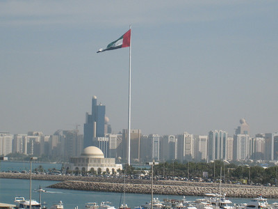 Giant flag over the city of Abu Dhabi on UAE National Day.