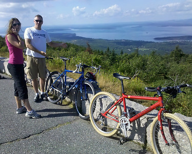 We all biked up to the top of Cadillac Mtn, but for reasons I will not explain at this time I did not have my camera with me. Alas, upon reaching the top I also discovered my cell phone had a dead battery. I ranted quietly to myself but, luckily, Thad was able to grab a shot with minimal duress from me. Thanks, brother!