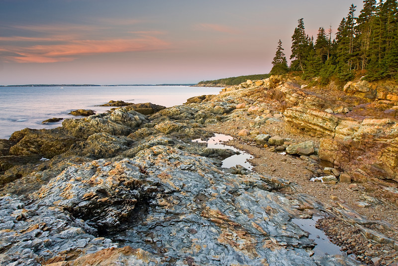 Early morning view from Otter Cliffs.  The cliffs are granite.  I was able to climb down the gently sloped cliffs because the tide was out.  Many of the Otter Cliffs are easily accessible, but most are too steep.
