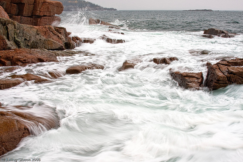 Another area where waves kick up after a storm is around Thunder Hole.  Last July, Acadia was hit by Hurricane Bill.  A seven year old girl drowned here after being swept from these rocks.