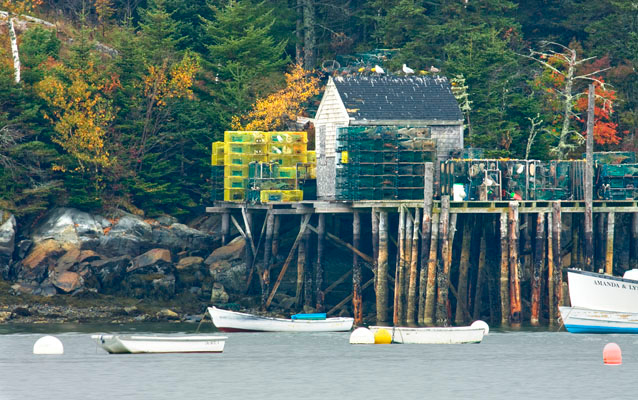 Bass Harbor lobster village. Notice all the lobster traps on the deck.
