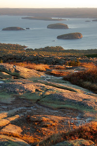 Sunrise shines on Porcupine Islands, Acadia National Park