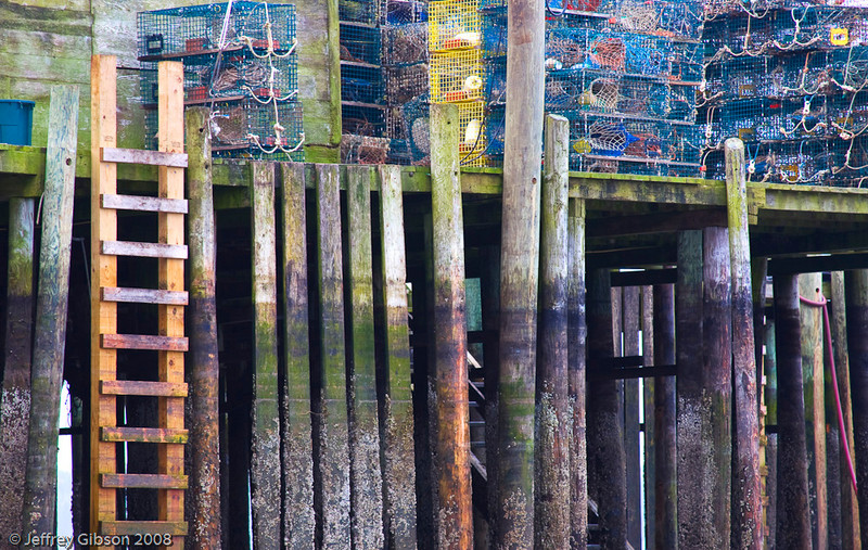 Lobster traps stacked on a pier at Bass Harbor.
