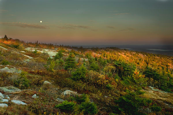 As the sun rose at Cadillac Mountain, I looked behind me to see this. The moon in the horizon while the mountain caught the early light of the sun.