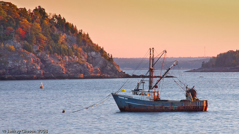 A lobster vessel in the Bar Harbor bay area.