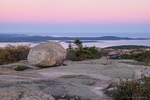 at the top of Cadillac Mountain, at sunset