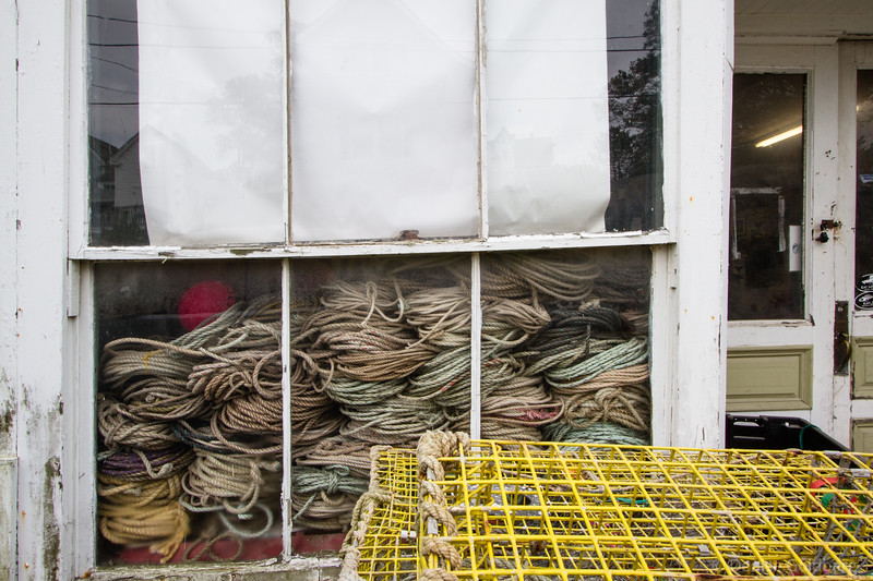 in the window, ropes piled high