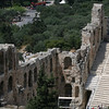 The Odeon of Herodes Atticus, Athens, Greece<br /> <br /> The Odeon of Herodes Atticus is a stone theatre structure located on the southwest slope of the Acropolis of Athens. It was built in 161 AD by the Athenian magnate Herodes Atticusin memory of his wife, Aspasia Annia Regilla. It was originally a steep-sloped amphitheaterwith a three-story stone front wall and a wooden roof made of expensive, cedar of Lebanontimber. It was used as a venue for music concerts with a capacity of 5,000.