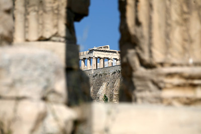 Acropolis through The Ruin of Olympian Zeus, Athens, Greece