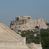 View of Acropolis from the Panathinaikon stadium, Athens, Greece