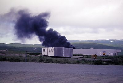Aircraft fire exercise behind the VP hangar