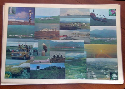 """...the back of the placemats had some great photos from around Adak. Several items of note: the totem pole, Ronald McDonald's first visit to """"The Rock"""" (would you believe we flew in more than 400 pre-frozen Big Macs for July 4th??), Adak national Forest, White Alice, Reeves Aleutian Airlines and many more. One of my photos is here, maybe some of these are yours."""