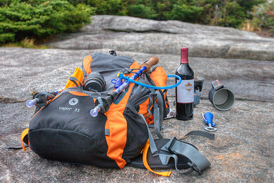 Essential gear. Thad brought dehydrated lasagna, I brought wine AND (this time) a corkscrew. Sorry Lou, the next summit tasting will incorporate a bottle of yours! Water? Of course we brought water. You have to wash the pot and titanium sporks after you're done eating.