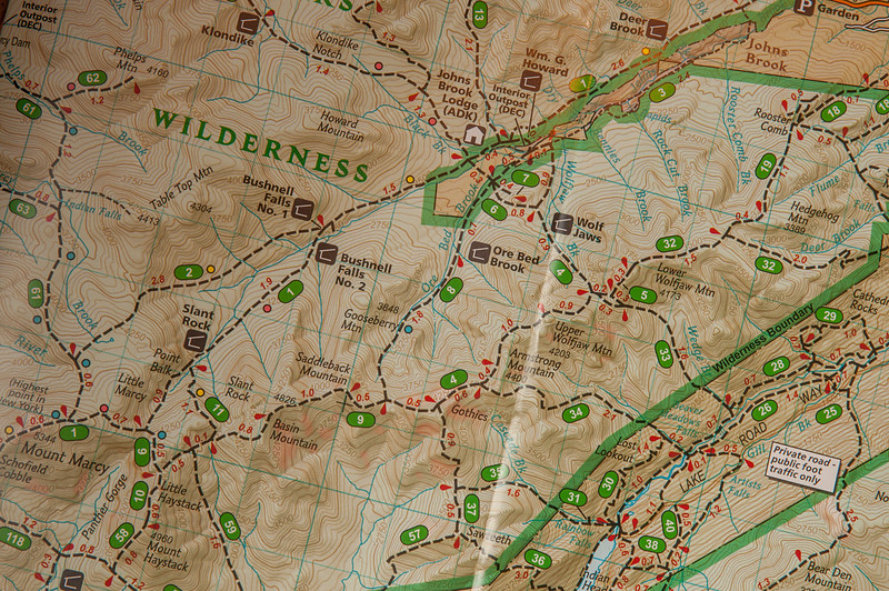 Camp Peggy O'Brien is across from the Johns Brook Lodge (which is closed for the winter) in the  upper middle of the map.