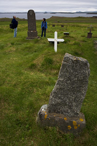 John McDermott and Angela Drury in the cemetary in Bjarnarhofn.