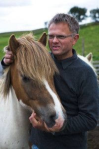 A farmer with his horse near Reykholt.